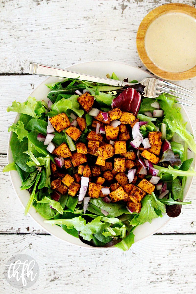 Vegan Roasted Sweet Potato Salad with Tahini Lime Dressing | The Healthy Family and Home