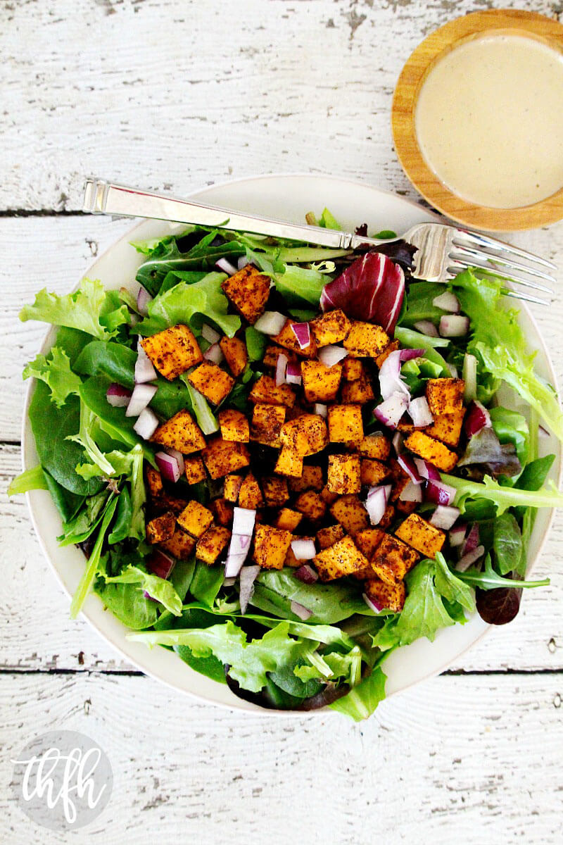 Vegan Roasted Chipotle Sweet Potato Salad with Tahini Lime Dressing | The Healthy Family and Home