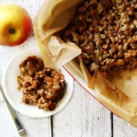Gluten-Free Vegan Apple Crisp with Caramel Sauce | The Healthy Family and Home