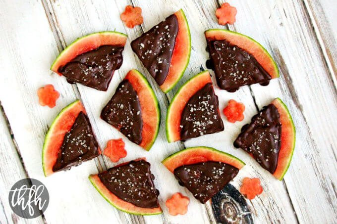 chocolate covered watermelon slices with sea salt the