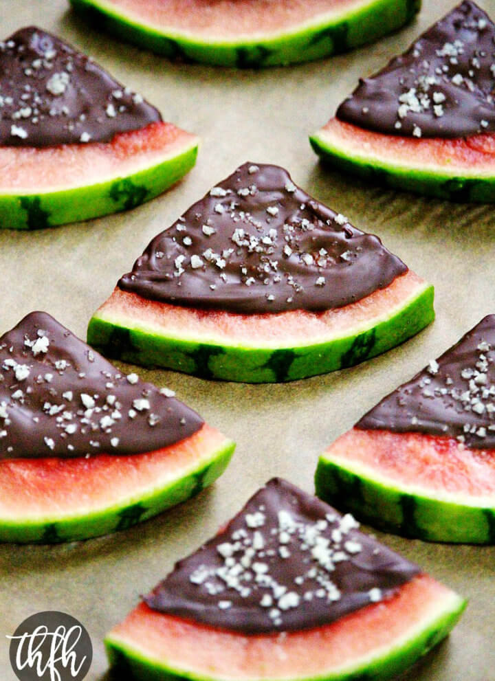 Chocolate Covered Watermelon Slices with Sea Salt