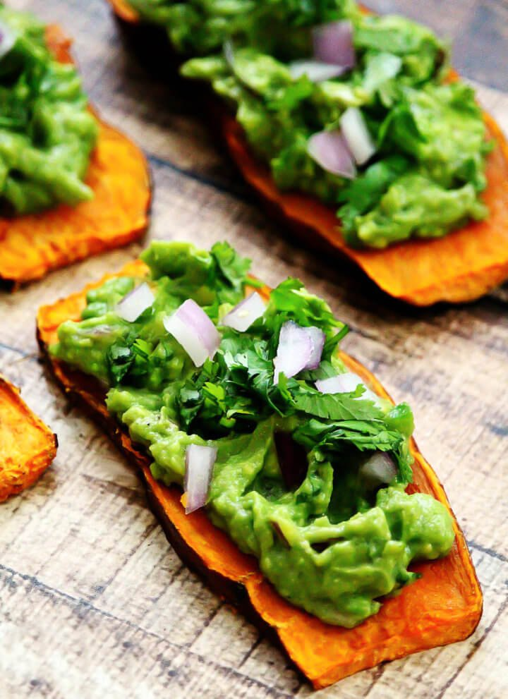 "Gluten-Free Vegan Oven-Baked Sweet Potato ""Toast"" with Spicy Guacamole"