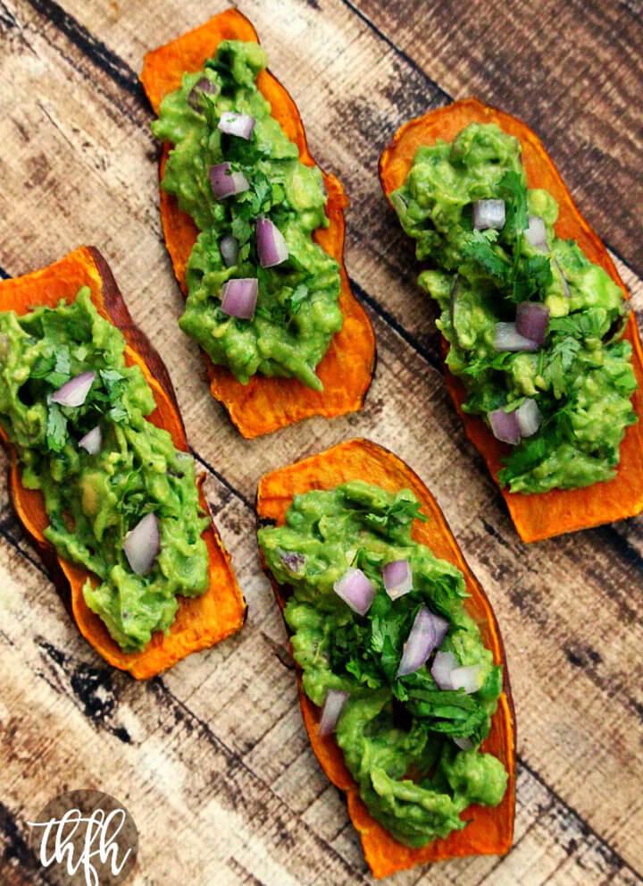 "Gluten-Free Vegan Oven-Baked Sweet Potato ""Toast"" with Spicy Guacamole"