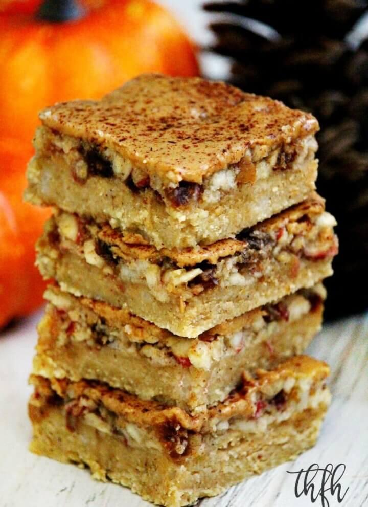 Gluten-Free Flourless No-Bake Vegan Peanut Butter Apple Pie Bars