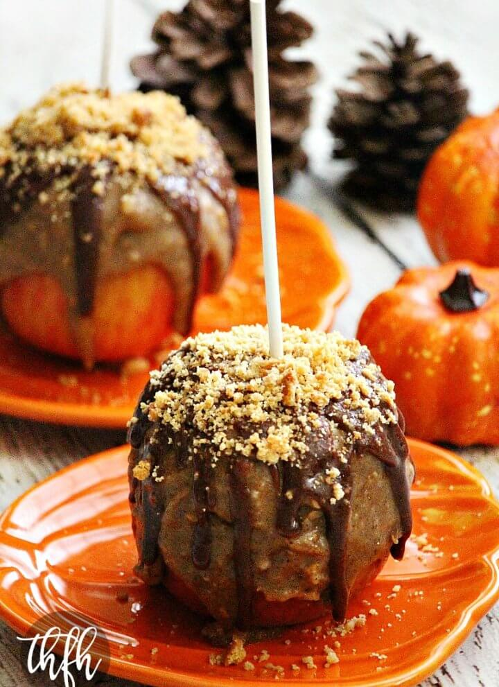 Gluten-Free Vegan Peanut Butter Cookie Caramel Apples