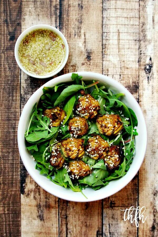 Vegan Roasted Artichoke Salad with Sesame Seed Vinaigrette