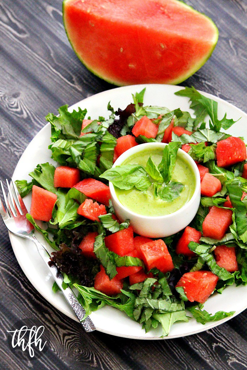 Watermelon Basil Salad with Fresh Basil Vinaigrette   The Healthy Family and Home