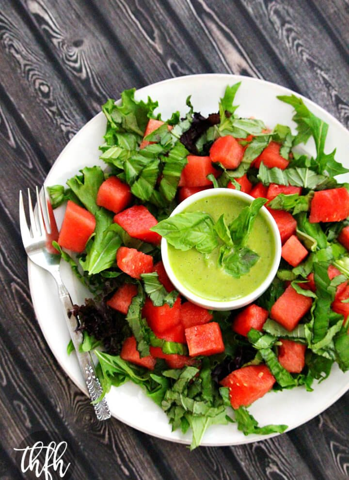 Watermelon Basil Salad with Fresh Basil Vinaigrette