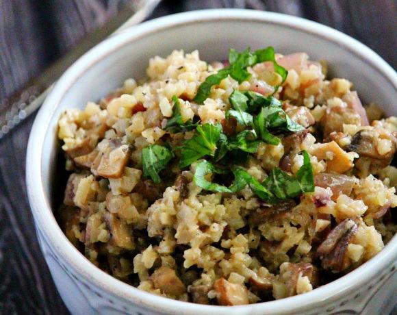 "Lectin-Free Vegan Mushroom Cauliflower Rice ""Risotto"""