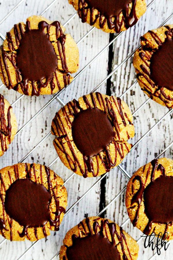 Gluten-Free Vegan Flourless Chocolate Peanut Butter Thumbprint Cookies