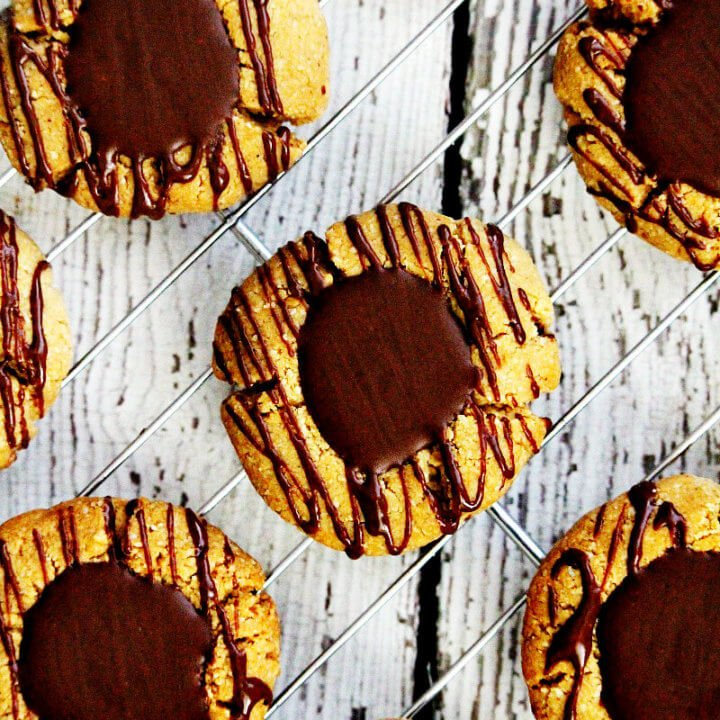 Gluten-Free Vegan Flourless Chocolate Peanut Butter Thumbprint Cookies