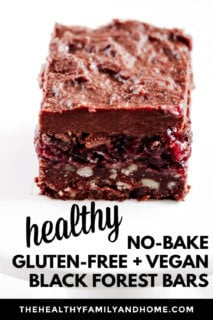 Close-up image of a single Gluten-Free Vegan No-Bake Black Forest Bar on a solid white background with text overlay