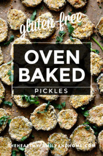 """Vertical image of a baking sheet full of The BEST Gluten-Free Vegan Oven-Baked """"Fried"""" Pickles on top of parchment paper with text overlay"""
