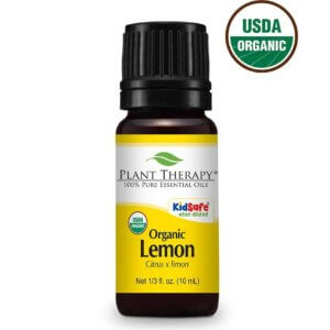 Image of Plant Therapy Organic Lemon Essential Oil on a white background with USDA Organic Logo