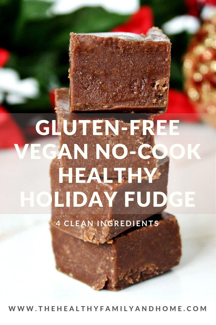 This is the BEST Gluten-Free Vegan No-Cook Healthy Holiday Fudge recipe ever! Just 5 clean, real food ingredients and less than 5 minutes to prepare. #veganrecipes #glutenfreerecipes #rawveganrecipes #glutenfreeveganrecipes #paleorecipes #dessertrecipes #nobakerecipes #healthyrecipes #easyrecipes #cleaneatingrecipes #veganfudge #healthyfudge #easyfudge #nocookfudge #vegandesserts #glutenfreedesserts #healthydesserts #nobakedesserts #fudge #chocolatedesserts { The Healthy Family and Home }
