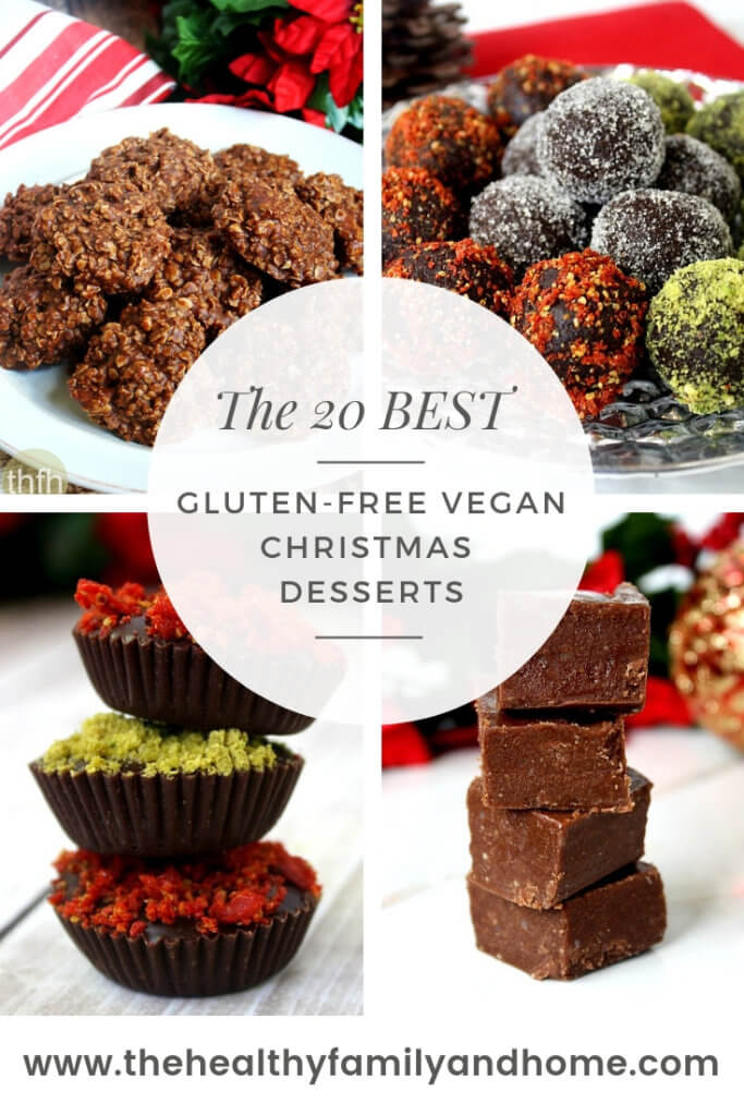 The 20 Best Gluten-Free Vegan Christmas Desserts Recipe Collage with 4 different Clean Eating No-Bake Desserts