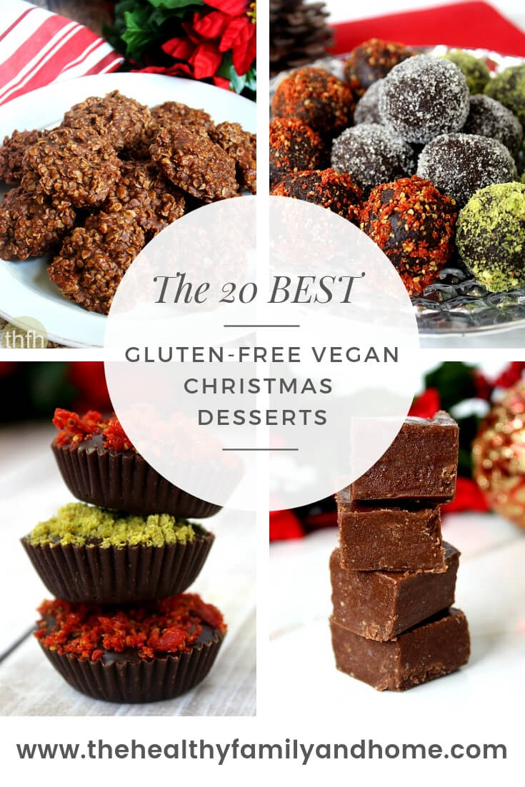 20 Best Gluten-Free Vegan Christmas Desserts logo with a collage of 4 dessert images