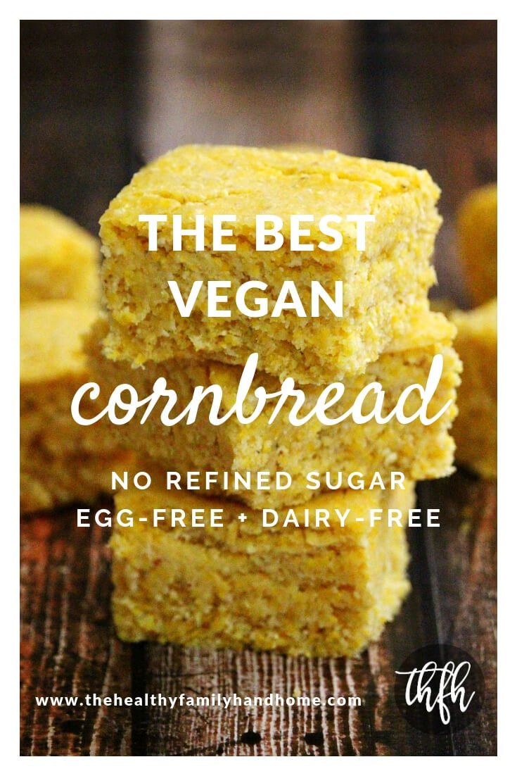 Stack of 3 of The BEST Vegan Cornbread Squares on a wooden surface and Pinterest text overlay