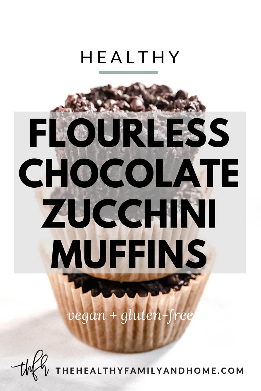Stack of three Gluten-Free Vegan Flourless Chocolate Zucchini Muffins in paper muffin cups on a white surface