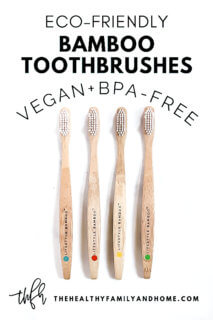 Set of 4 LIFESTYLE BAMBOO Eco-Friendly Bamboo Toothbrushes on a white background with text overlay