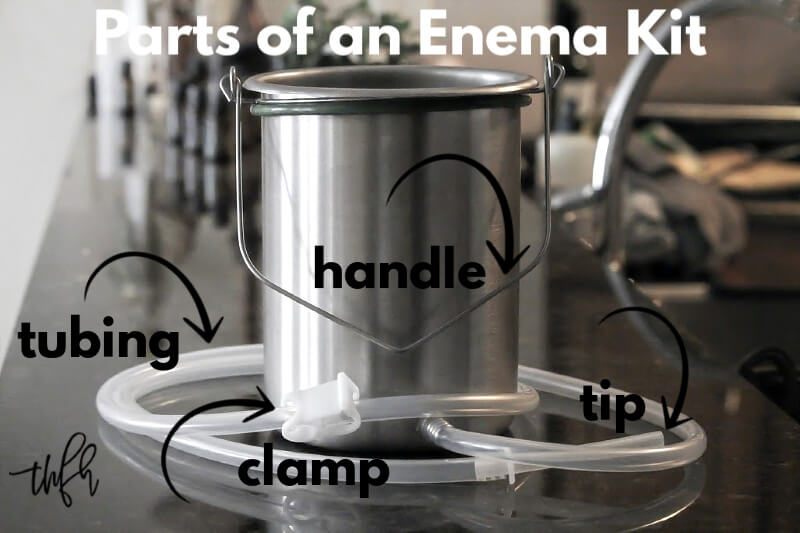 Horizontal view of a stainless steel coffee enema bucket with text overlay