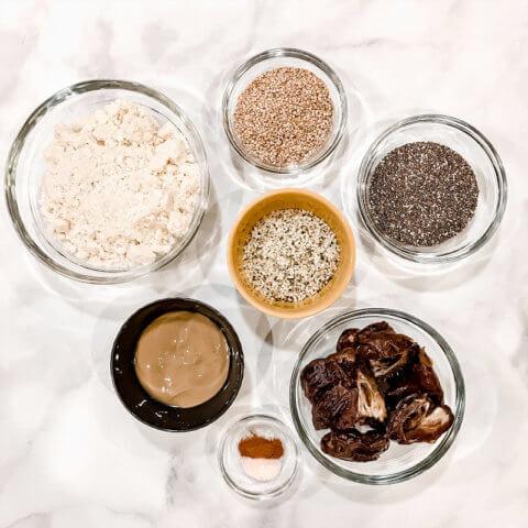 Overhead view of ingredients needed to make Gluten-Free Vegan Healthy Triple Seed Energy Balls