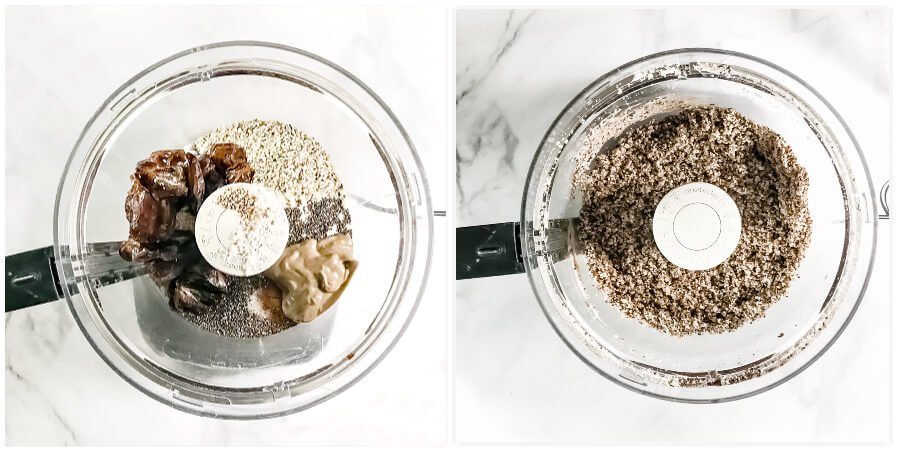 Overhead view of a food processor of step 1 of how to make Gluten-Free Vegan Healthy Triple Seed Energy Balls