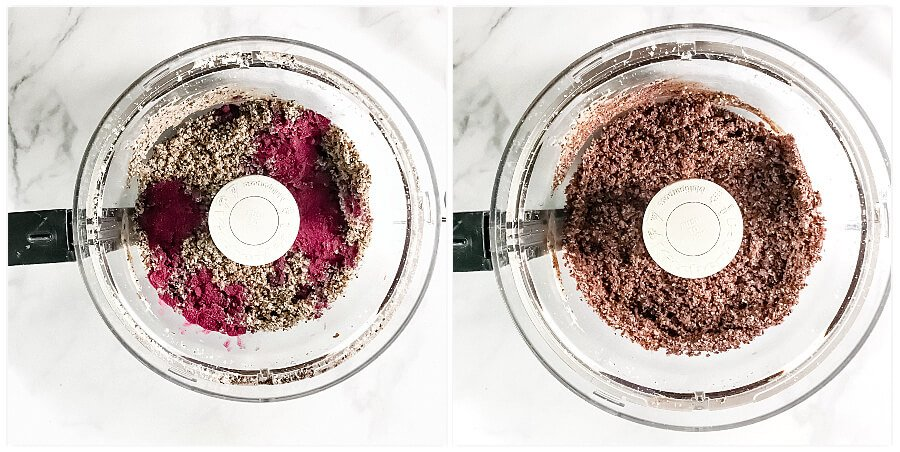 Overhead view of a food processor showing step 2 of making Gluten-Free Vegan Healthy Triple Seed Energy Balls