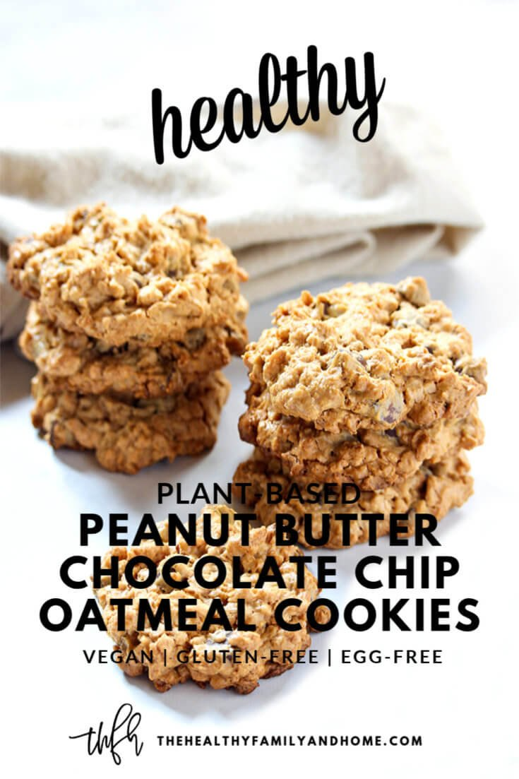These plant-based Gluten-Free Vegan Peanut Butter Chocolate Chip Oatmeal Cookies are made with only 6 clean, real food ingredients and they're vegan, gluten-free, dairy-free, egg-free, oil-free, grain-free, flourless and contain no refined sugar. They're a one-bowl cookie recipe with all the flavors of traditional peanut butter cookies, chocolate chip cookies and oatmeal cookies all-in-one! { The Healthy Family and Home } #cookies #healthy #peanutbutter #chocolatechip #oatmeal #vegan #glutenfree