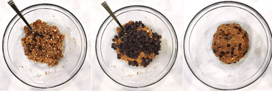 Step-by-step instructions of How To Make The BEST Gluten-Free Vegan Chocolate Chip Oatmeal Cookies showing three glass bowls and the mixture before, during and after adding chocolate chips