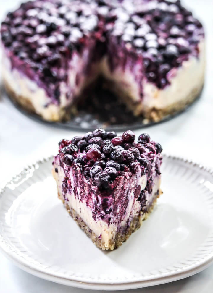 Gluten-Free Vegan No-Bake Wild Blueberry Cheesecake