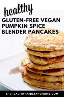 Close up vertical image of a large stack of Gluten-Free Vegan Pumpkin Spice Pancakes on a decorative grey plate with text overlay