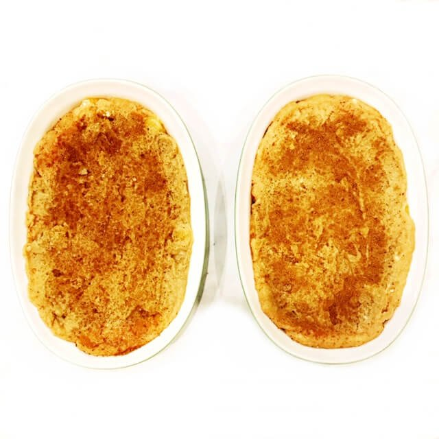 Step-by-step instructions showing coconut sugar sprinkled on top of the topping mixture in two 9-inch oval baking dishes