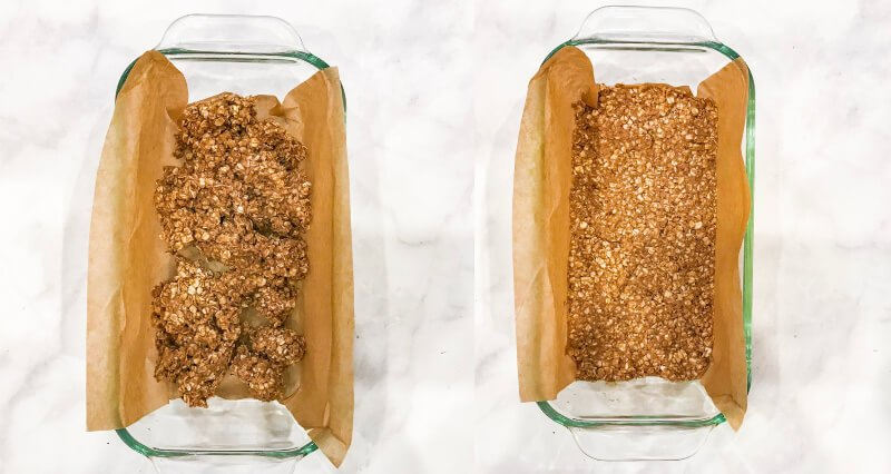 Side-by-side images of how to make Gluten-Free Vegan No-Bake Pumpkin Spice Granola Bars with a loaf pan with the mixture added and another image with the mixture pressed down firmly into the loaf pan