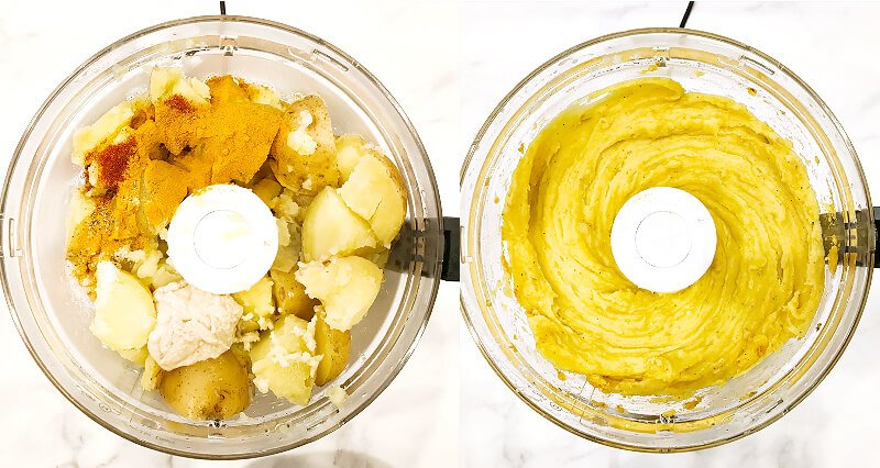 Side-by-side images showing how to make Gluten-Free Vegan Turmeric and Black Pepper Mashed Potatoes in a food processor with before and after photos of mixing the ingredients together