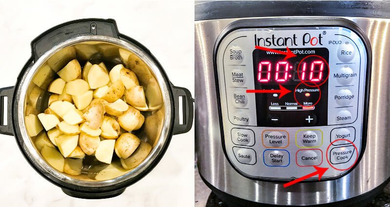 Side-by-side image of how to make Gluten-Free Vegan Turmeric and Black Pepper Mashed Potatoes in an Instant Pot with settings