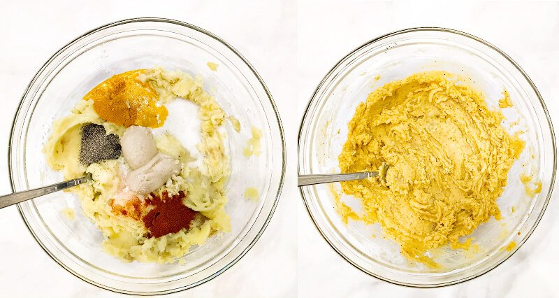 Side-by-side images showing how to make Gluten-Free Vegan Turmeric and Black Pepper Mashed Potatoes adding the ingredients to the cooked potatoes in one image and after they've been stirred in on the other image