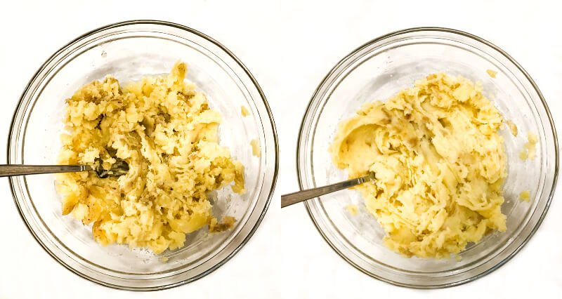 Side-by-side images of how to make Gluten-Free Vegan Turmeric and Black Pepper Mashed Potatoes with one bowl showing the potatoes mashed with a fork and the second photo showing them creamed together
