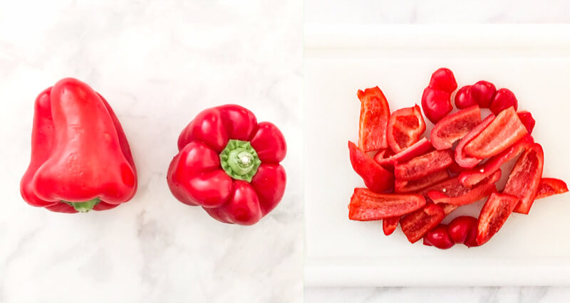 Step-by-step photos of how to make Gluten-Free Vegan Spicy Roasted Red Pepper and Garlic Hummus showing red bell peppers before and after cutting into slices