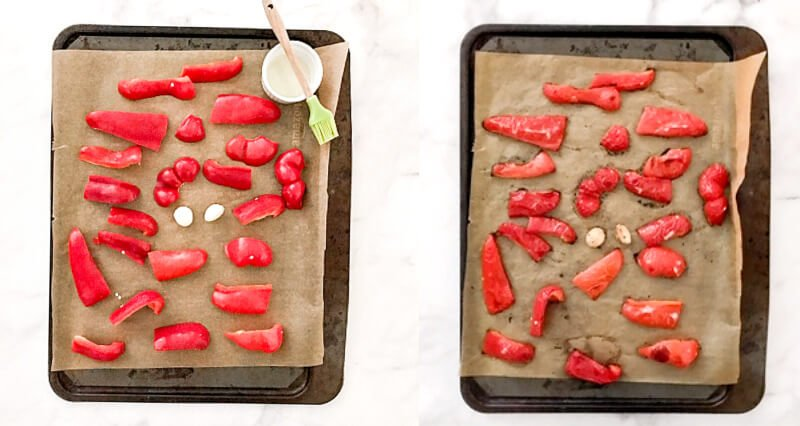 Step-by-step photos showing how to make Gluten-Free Vegan Spicy Roasted Red Pepper and Garlic Hummus with the peppers and garlic before and after roasting in the oven
