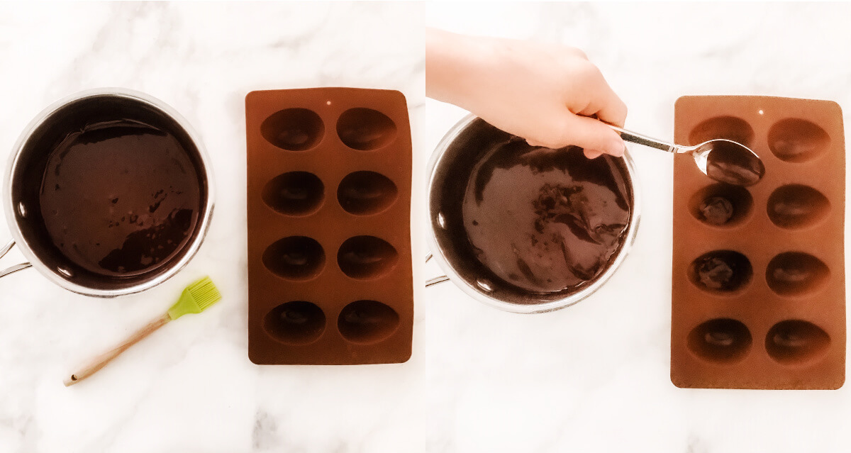 Side-by-side images showing melted chocolate before and after placing it into a silicone egg mold