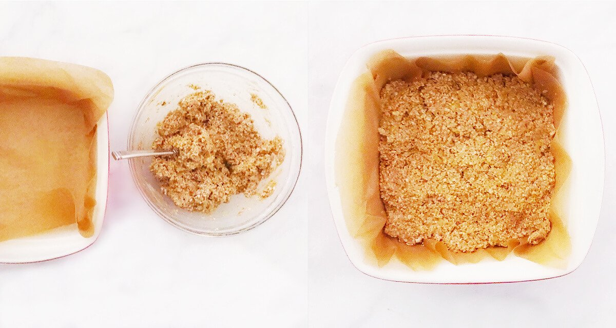 Side-by-side image of an empty baking dish next to a glass bowl of batter mixture and baking dish filled with the batter mixture