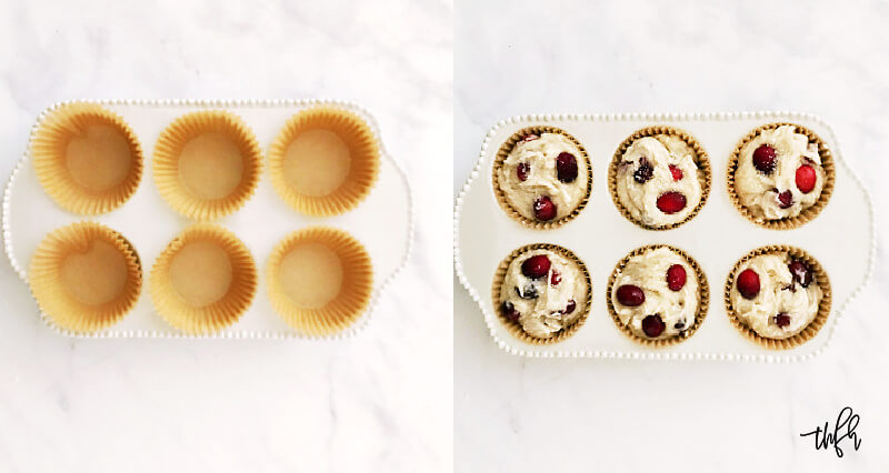 Overhead image of muffin cups before and after adding the muffin batter